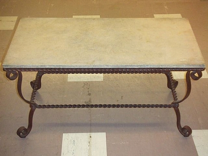 Coffee Table  Rectangle With Wrought Iron Base And Stone Top