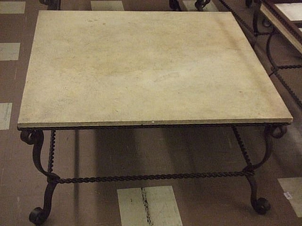 Coffe Table  Square With Wrought Iron Base And Stone Top