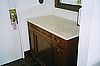 Mini Refrigerator Cabinet on Wheels with Marble Top