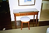 Writing Desk shown with Leather Upholstered Stool