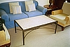 Hide-a-Bed shown with Hemp Upholstered Arm Chair, Marble Top Coffee Table and Round End Table - Wood Top and Wrought Iron Base