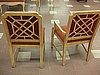 Upholstered Arm Chair and Straight Back Chair- Criss-Crossed Back - Manufactured by Drexel Heritage