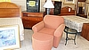 Upholstered Chair with Ottoman and Floor lamp and side table