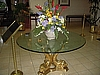 Center Table - Glass Top with 3 Brass Fish Base